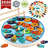 CozyBomB Magnetic Wooden Fishing Game Toy for Toddlers - Alphabet Fish Catching Counting Preschool...