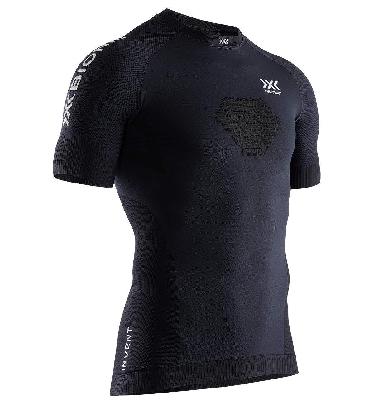 X-Bionic Herren Invent Run Speed, Short Sleeve Shirt, Opal Black/Arctic White, X