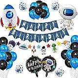 37 Piezas Decoraciones Cumpleaños, Dibujos Animados Globos Decoraciones, Juego Decoración Fiesta Espacial, Globos Espaciales Astronautas, Decoración de Feliz Cumpleaños con Accesorios
