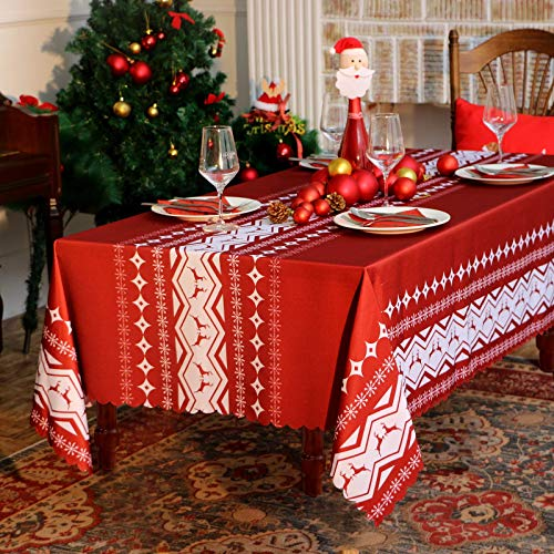 Christmas Rectangle Table Cloth - 60x102 inch Water Proof Holiday Decorative Printed Fabric Tablecloth Cover for Kitchen Outdoor and Indoor Use