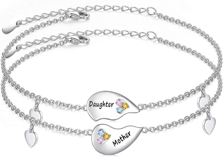 FLYOW Big Sis Lil Sis/Mother Daughter Bracelets Set for 2 Sterli