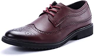 SHENTIANWEI Brogue Carving Oxfords for Men Dress Shoes Lace up PU Leather Pointed Toe Wingtip Burnished Style Solid Color Lug Sole Block Heel (Color : Red, Size : 7 UK)