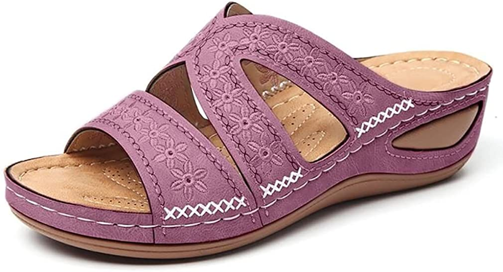 heelchic Women Bohemia Cutout Slip On Wedge Sandals Causal Daily Comfort Lady Summer Open Toe Slides Sandals