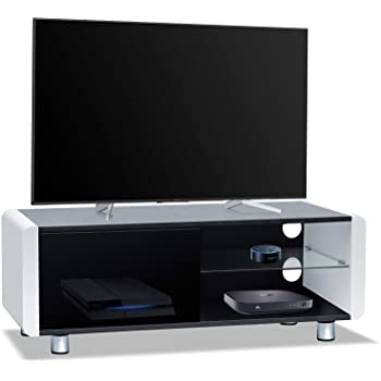Homeology Amalfi - Mueble de TV con Pantalla Plana (32 a 55 Pulgadas), Color Negro Brillante Blanco: Amazon.es: Electrónica