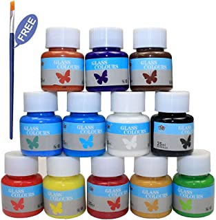 Bearals Glass Paint, Glass Paints for Glasses, Non-Toxic Glass Window Paint, Glass Painting for Wine, Light Bulbs, Ceramic, 1 Painting Brush Included (12 x 25 ml)