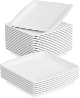 MALACASA, Série Blance, 24pcs Assiettes Plates, Assiettes Porcelaine Plates Services de Table Plat 24 Personnes