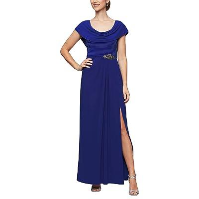 Alex Evenings Long Cowl Neck A-Line Dress with Beaded Detail at Waist (Dark Royal) Women