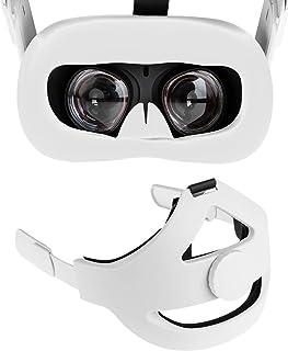 NEWZEROL Huvudplatta + ansiktsskydd i silikon [Vit] kompatibel med Oculus Quest 2 [förbättrat stöd] justerbar minska huvud...