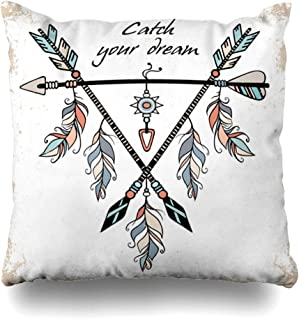 Ahawoso Throw Pillow Cover Apache Native Dream Catcher Tribal Ethnic Arrows Feathers Wild American Indian Motifs Boho Quot Catch Decor Zippered Cushion Case 18