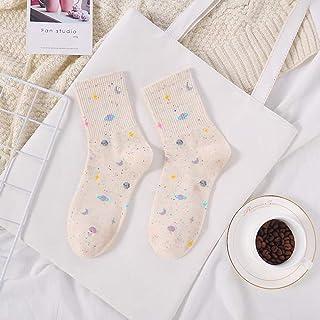 Weichuang Sock - Calcetines de algodón para mujer, diseño estrellado de tubo medio, color azul