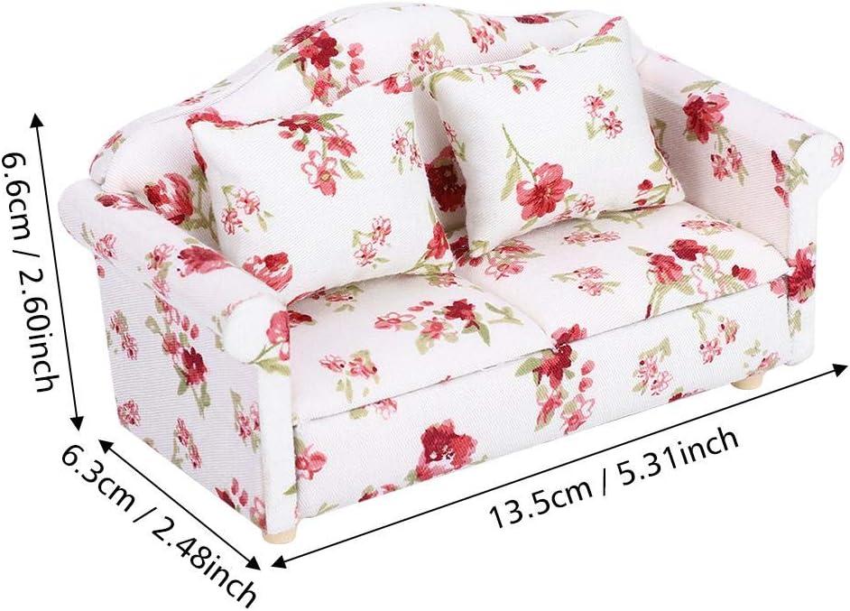 Atyhao Mod/èle de Fleur Mini Meubles Double canap/é #1 1//12 Accessoires de poup/ée Miniature Jouet de Maison de poup/ée Miniature pour Paysage de Meubles de Maison de poup/ée