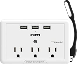 jfegwo 3 USB 3 Outlet Plug Extender Surge Protector, Multi Plug Outlets and 3 USB Wall Charger, 3.1A Wall Plugs Charging Stations, 1700 Joules to Protect Your 6 Device, White