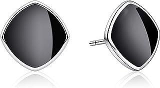 B.Catcher Earrings Women 925 Sterling Silver Stud Earrings Simple Black gift for Men and Women