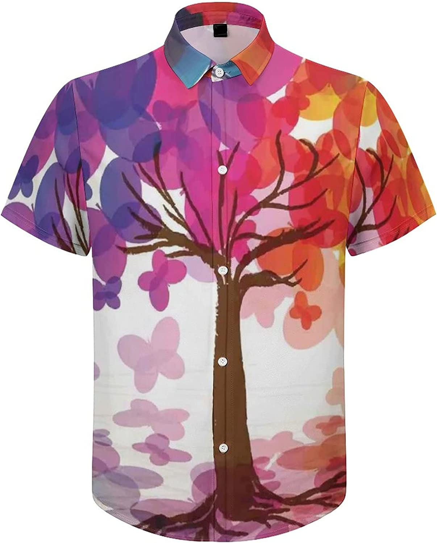 Mens Button Down Shirt Colorful Spring Tree Heart Casual Summer Beach Shirts Tops