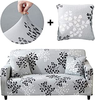 Bikuer Printed Grey Sofa Cover Stretch Couch Cover Sofa Slipcovers for 2 Cushion Couch with One Free Pillow Case (Love seat, Silver Leaves)