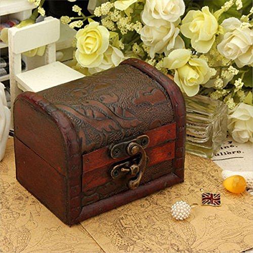 DaHanBL Petite boîte en bois rétro faite à la main avec verrou en métal, couleur aléatoire