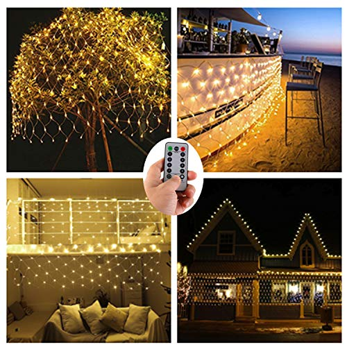 Batteriebetrieben 200er LED Lichternetz Lichterketten Netz für Draußen Innenräume,3M x 2M,Deko Leuchte für Weihnachten Hochzeit Schlafzimmer Weihnachten Halloween -Warmweiß,Fernbedienung,Wasserfest