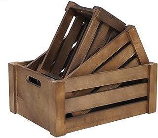 ZQCM Retro Boîte de rangement, boîtes en bois, anciennes caisses en bois à afficher des paniers en bois rectangulaires acc...