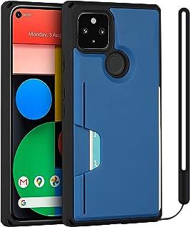 جراب محفظة لهاتف Google Pixel 4a 5G - حامل بطاقات الائتمان [حماية من السقوط] مع شريط معصم - أزرق