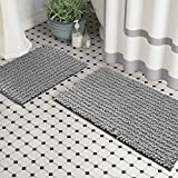 Zebrux Non Slip Thick Shaggy Chenille Bathroom Rugs, Bath Mats for Bathroom Extra Soft and Absorbent - Striped Bath Rugs Set for Indoor/Kitchen (20 x 30 + 15 x 23'', Light Grey)