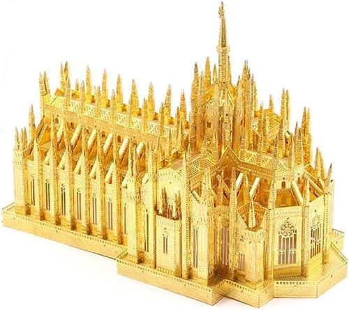 Puzzle en métal, Décoration de la Maison 3D DIY Assembler Un batiHommest modèle Enfant Adulte, Kits de Jouets découpés au Laser Cathédrale de Milan 19,8  14,8  10,7 cm