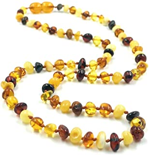 Adult Amber Necklace - Multi color Baroque Amber Necklace | Certified Genuine Amber Necklace (18 Inches)