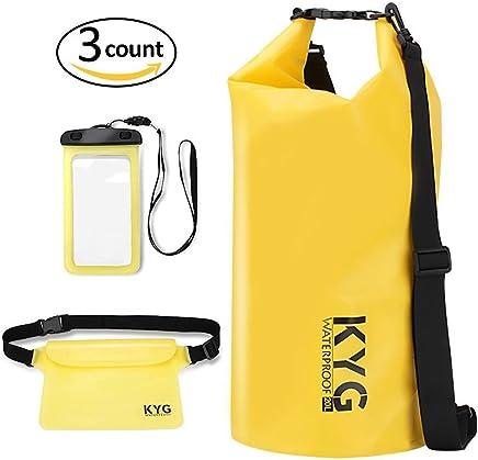 KYG Premium Bolsa estanca Impermeable Seca PVC- Bolsa Waterproof con Funda táctil de móvil y Bolsa Cintura para Playa y Deportes al Aire(Rafting/Kayak/Senderismo/esquí/Pesca/Escalada/Camping)