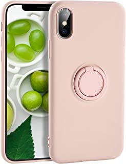 Yoopake iPhone Xs Case Silicone iPhone X Case, XS Liquid Silicone Case with Ring Holder Kickstand Work with Magnetic Car Mount Shockproof Soft Slim Fit Phone Cover Case for Apple iPhone Xs X,Pink