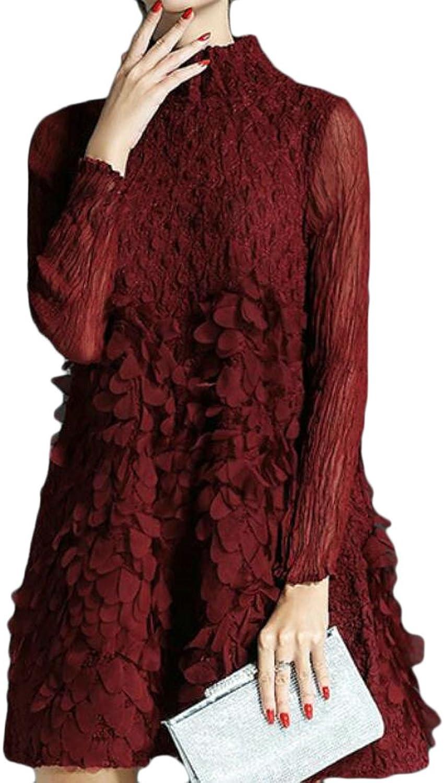 Alion Women's Vintage Long Sleeve Turtleneck Pleated Knitted Sweaters Mini Dress