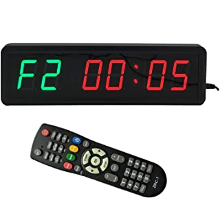 BTBSIGN LED Interval Timer Count Down/Up Clock Stopwatch with Remote for Home Gym Fitness (Two Green+Four Red)