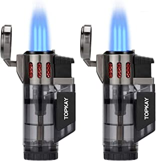 Torch Lighter, Cigar Lighter, Triple Jet Flame Torch Lighters, Windproof Butane Refillable Gas Torch Lighters with a Gift Box, 2 Pack (Without Gas)
