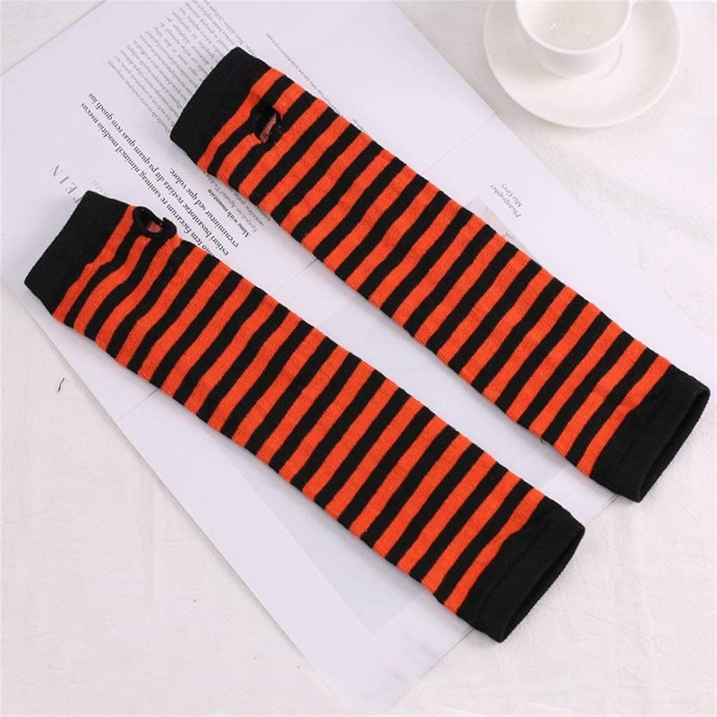 YYOBK SHt Winter Arm Gloves, Classic Black and White Striped Cotton Wrist Arm Sleeves, Ladies Knitted Sleeve Sleeves (Color : Black Orange red)