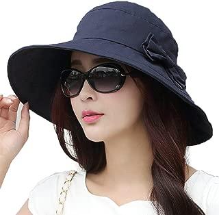 Womens UPF50 Cotton Packable Sun Hats w/Chin Cord Wide Brim Stylish 54-60CM