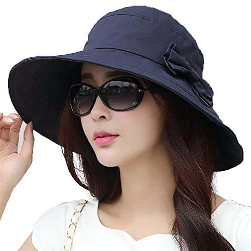e6c20c49bbc7db Womens UPF50 Cotton Packable Sun Hats w/Chin Cord Wide Brim Stylish 54-60CM