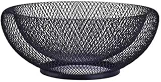 Metal Mesh Creative Countertop Fruit Basket Bowl Stand for Kitchen, Restaurant, Large Black Decorative Table Centerpiece Holder for Bread, Candy, Egg, K Cup, 10 Inch
