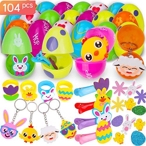 Faburo 12 PCS Huevos de Pascua con 12 PCS Mini Regalo de Juguete,Huevos de Plástico Precargados de Colores Brillantes con 80 PCS Pegatinas de Pascua