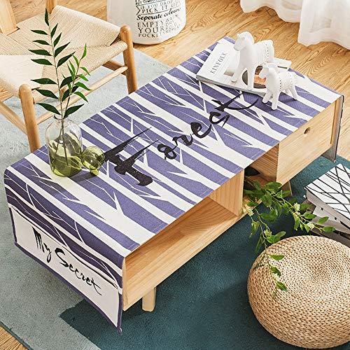 YCZZ Nordische Baumwolle Und Hanf Wohnzimmer Rechteckige Couchtisch Tuch 70 x 160cm (Doppeltaschenaufbewahrung) Die Birke Tischdecke