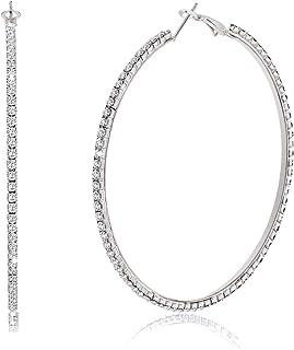 BSJELL Large Hoop Earrings for Women Rhinestone Crystal Big Circle Hoops Stud Earrings Fashion Bridal Wedding Jewelry,Gold/Rose Gold/Silver Plated