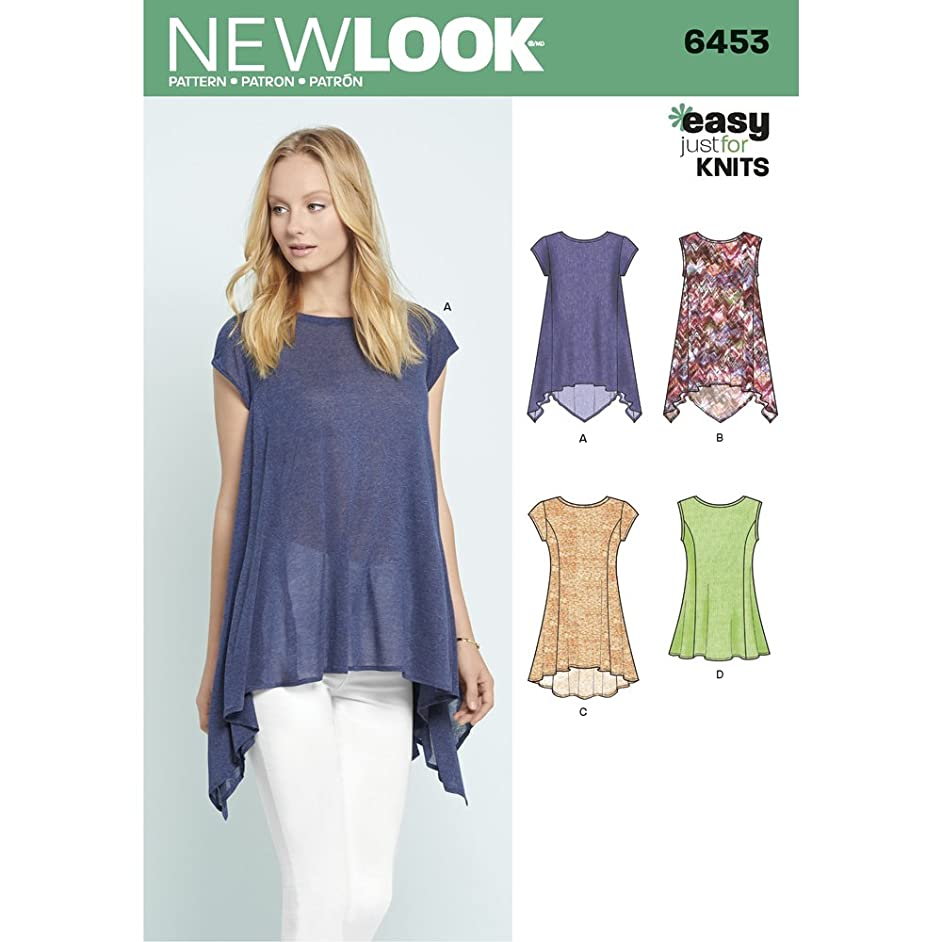 New Look Patterns Misses' Easy Knit Tops A (6-8-10-12-14-16-18) 6453
