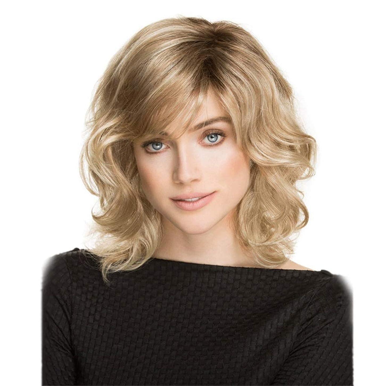 タイルおもちゃコウモリ女性のための短いボブのブロンドの巻き毛のかつら、人工毛の濃い根のイギリスの自然な見ること (Color : Blond)