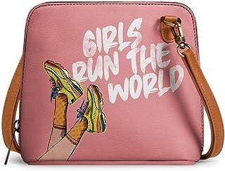 DailyObjects Girls Run The World Trapeze Sling Crossbody Bag for girls and women | Vegan leather, Stylish, Sturdy, Zip clo...
