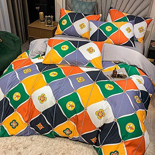 Exlcellexngce Funda Nordica Cama 135,60 Ropa de Cama de Seda, una Variedad de Colores Hermosos edredones Suaves y cómodos, adecuados para Habitaciones de Dormitorio.-GRAMO_1,8 m de Cama (4pcs)