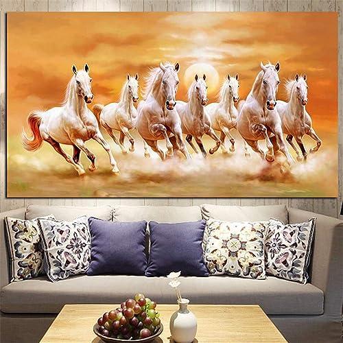 ventas en línea de venta ZUHN Siete Running blanco Horse Horse Horse Animals Painting - Artistic Canvas Modern Wall Art Picture  barato en línea