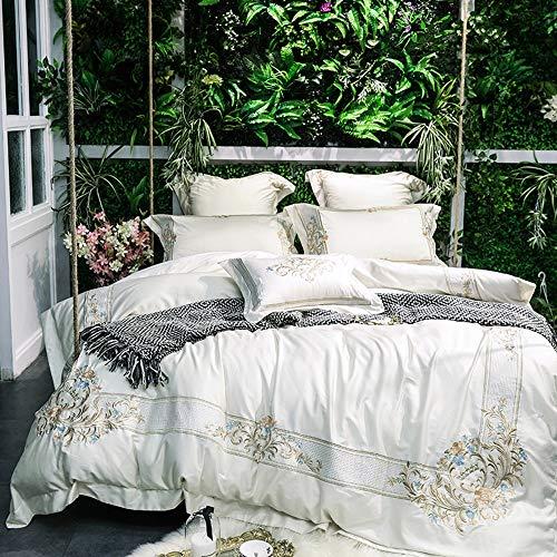 MIJIA Juego de Cama de algodón Bordado de Oro Blanco edredón sábanas de Lino sábanas Funda de Almohada Cama King Size,Queen7pcs