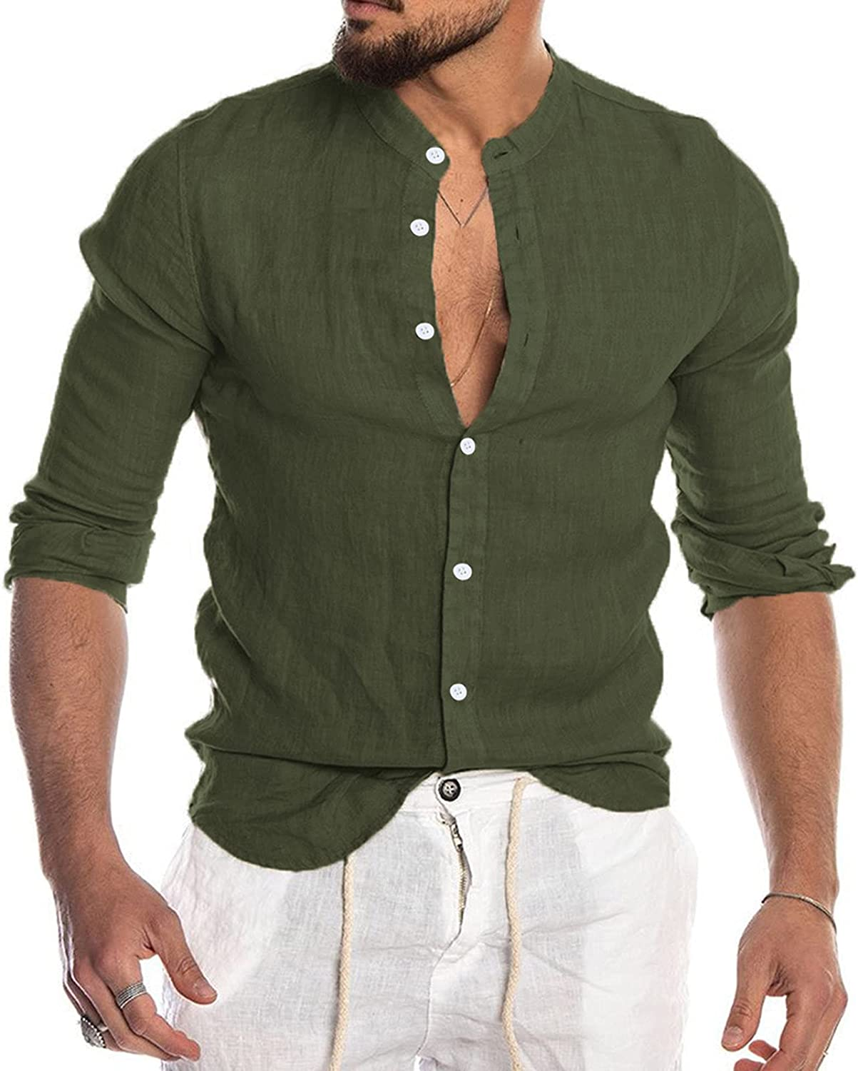 Long Sleeve Tee Shirts for Men Button Cotton Linen Shirt Fashion Casual Solid Color Collar Cardigan Long Sleeve Top