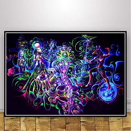yhyxll Abstrakte Schwarzlicht Gemälde Kunst Psychedelic Trippy Poster Moderne Wand Leinwand Wandbilder Für Wohnzimmer Wohnkultur K 50X75 cm