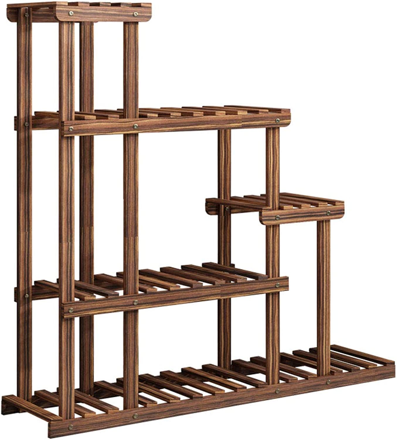 SYF Ground Flower Pot Display Stand Multi-Purpose Rack Solid Wood Flower Stand Carbonized Wood Multi-Layer Living Room Balcony Room Built-in Rack A+ (color   A, Size   with Wheel+guardrail)