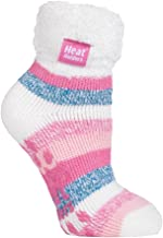 Heat Holders - Ladies Extra Soft Fluffy Non Slip Thermal Low Cut Ankle Slipper Lounge Bed Socks with Grips