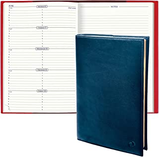 """$253 » Quo Vadis 2022 Space 24 - Weekly/Monthly Planner - 12 Months, Jan. to Dec. - 6 1/4 x 9 3/8"""" - Smooth Leather Montebello Bl..."""