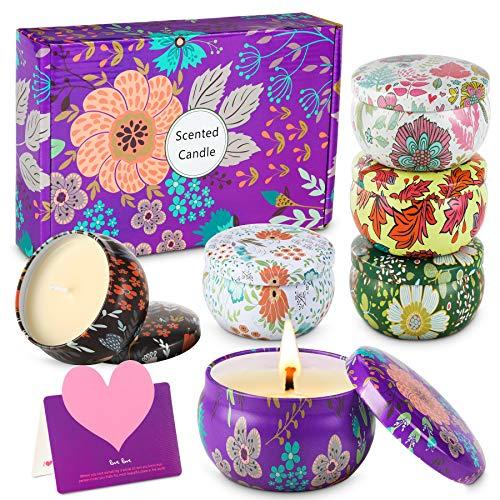 wilbest® Duftkerze Set, Natürliches Sojawachs Kerzen Set (6 Pack), Duftkerzen Geschenkset für Damen, Tragbare Reisekerzen Kerzen Aroma für Aromatherapie, Bad, Yoga, Massage, Entspannende Stressabbau